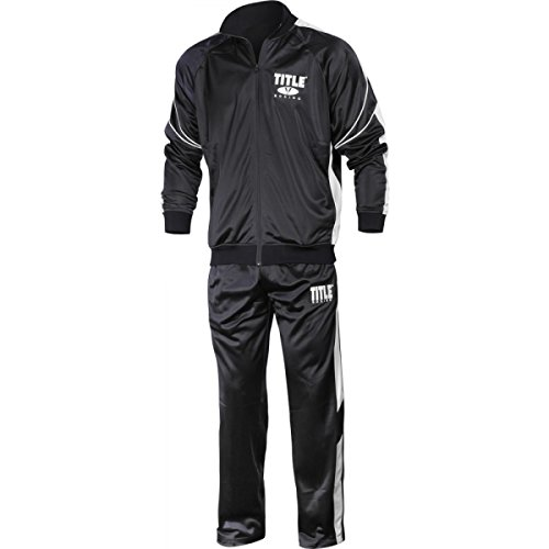 Title Boxing Tricot Pro Warm-Up Suit, Black/White, XX-Large