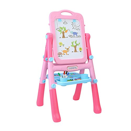 LXLA- 子供の両面イーゼル赤ちゃん磁気スケッチブックブラケットタイプ小さな黒板のグラフィティボードを描くワードパッドおもちゃ51×54×106cm (色 : Pink)