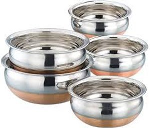 Mayur Exports Stainless Steel Copper Bottom Handi - Set of 5 Sauce Pots & Handis at amazon