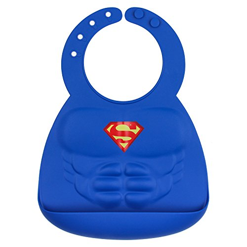 Bumkins DC Comics Superman Silicone Bib, Baby Bib, Toddler Bib, Comfortable, Waterproof, Wipe Clean, Stain and Odor Resistant, 6-24 Months -