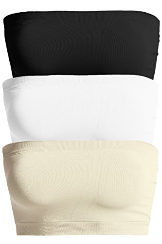TheMogan Women's Seamless Bandeau Bra Top Stretch Bralette Black/Nude/White (Bras Tube Womens)