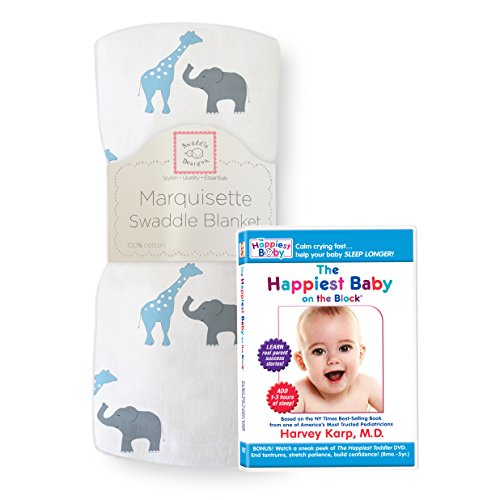 SwaddleDesigns Marquisette Swaddling Blanket, Premium Cotton Muslin, and The Happiest Baby DVD Bundle, Blue Safari Fun
