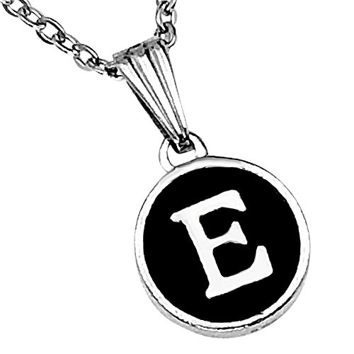 Sabai NYC Typewriter Key Initial Charm Pendant Necklace for Layering (18, E)