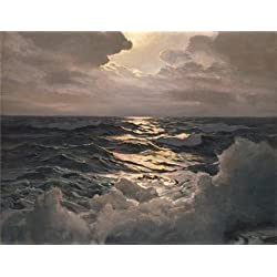 Oil Painting 'Frederick Judd Waugh,The Path Of The Moon,1928' 12 x 16 inch / 30 x 39 cm , on High Definition HD canvas prints is for Gifts And Dining Room, Garage And Kids Room Decoration