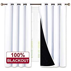 White Grommet 100% Blackout Curtains - Heat and Full Light Blocking Drapes Panels with Black liner Soundproof Privacy Window Panels for Living Room / Home Theater, Width 52 by Length 63 Inch, 2 Pieces