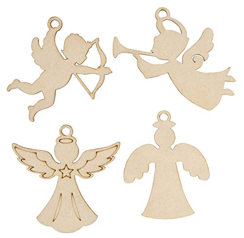 Unfinished Wooden Christmas Ornaments - 24-Pack Paintable Blank Xmas Tree Hanging Wood Slices for Kids DIY Art Crafts, Festive Decoration, 4 Assorted Angels Designs, 4.3 x 4.25 x 0.1 Inches