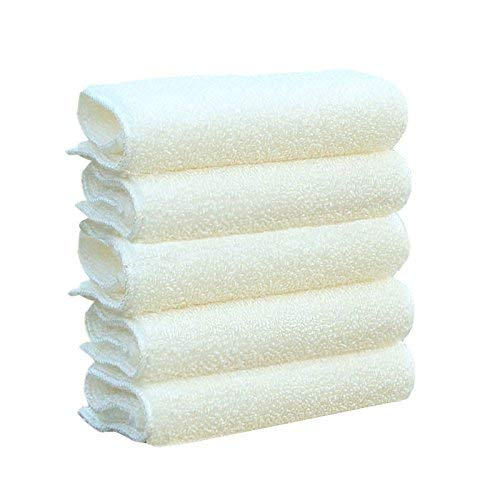 Nument(TM) Bamboo Fiber Thickened Kitchen Dishcloth Color White 5 Count NMCD4-04