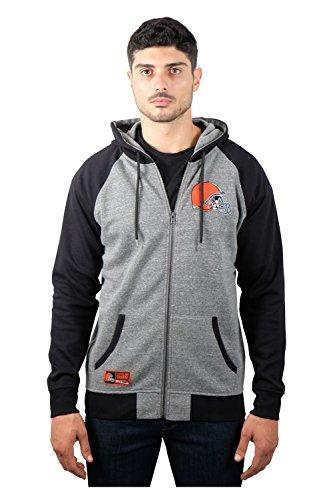 NFL Men's Cleveland Browns Full Zip Fleece Hoodie Sweatshirt Jacket Contrast Raglan, X-Large, - Fabric Cleveland Browns Fleece