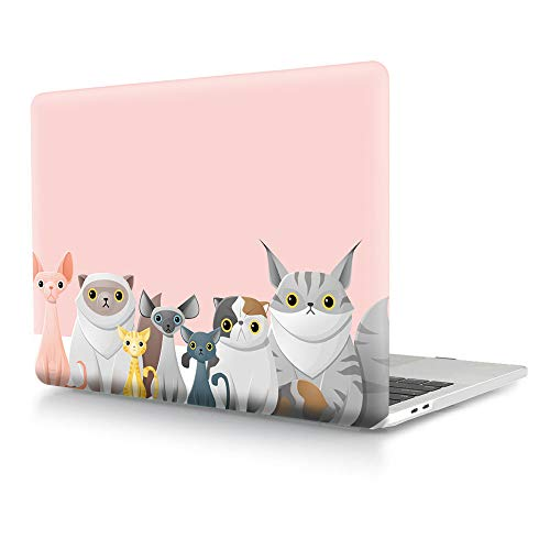 - HRH Cat Team Pink Design Laptop Body Shell Protective Hard Case for MacBook Newest Air 13