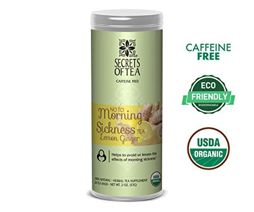 No to Morning Sickness Lemon Ginger Tea -Pregnancy Tea for Nausea, Constipation & Much More -Certified USDA Organic- No Caffeine-20 Biodegradable sachets- Up to 40 Servings (Lemon Ginger)