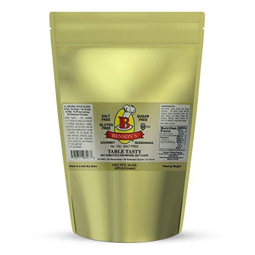 1 pound Table Tasty No Potassium Chloride Salt Substitute - No Bitter After Taste - Good Flavor - No Sodium Salt Alternative - 1 Lb Resealable Bag - More Economical by Benson's Gourmet Seasonings (Image #1)