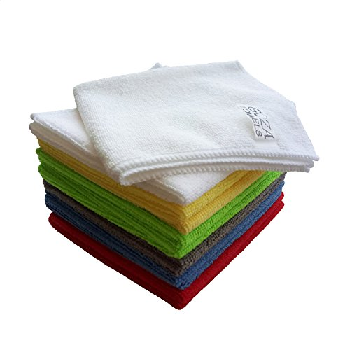 Goza Towels Microfiber Towel Cleaning Cloths Professional Grade All-Purpose 12″x12″ (Multi-color, 12 Pack)