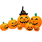 UBTKEY Halloween Inflatable Decoration 8 FT Long Inflatable 7 Pumpkins Patch Lanterns with Black Cat with Build-in LEDs Blow Up...