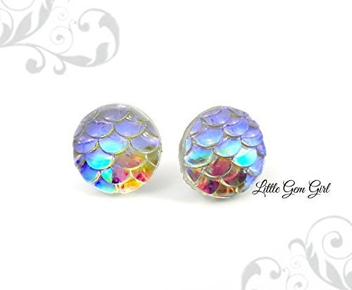 Small Iridescent Color Changing Rainbow Dragon or Mermaid Scale Stud Earrings -8mm, 10mm or 12mm w/Titanium or Surgical Stainless Steel Posts Nickel Free for Sensitive Ears