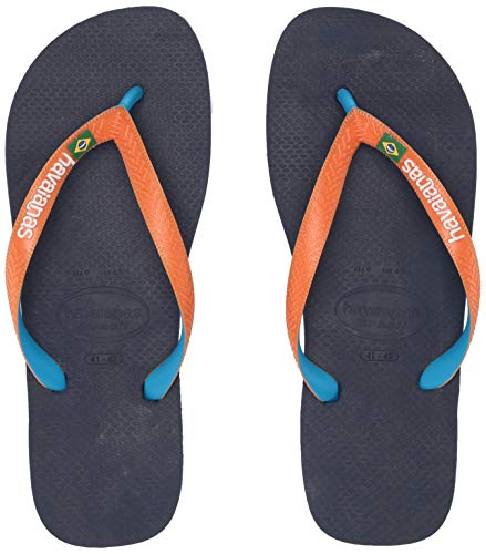 Havaianas Women's Brazil Mix Flip Flop Sandal,Navy Blue/Neon Orange, 35/36 BR(5-6 M US Women's) - Havaianas Womens Brazil