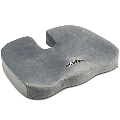 Anywhere Comfort Memory Foam (Aylio Coccyx Seat Cushion | Back Support, Tailbone and Sciatica Pain Relief, Washable Cover)