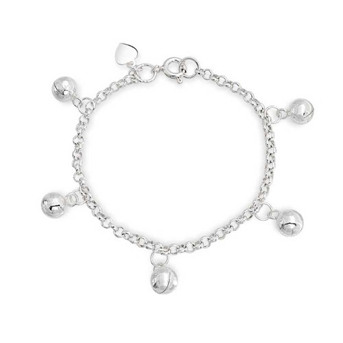 Dainty Dangling Jingle Bells Bracelet Wrists 6 In 925 Sterling Silver Adjustable Bells Are Silver Plate