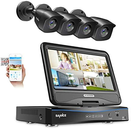 True All-in-One Wired Security Camera System with Built-in 10.1 LCD Monitor,SANNCE 4CH 1080P Surveillance DVR Recorder with 4Pcs Metal 100ft Night Vision Cameras, Easy Remote Access No HDD Included