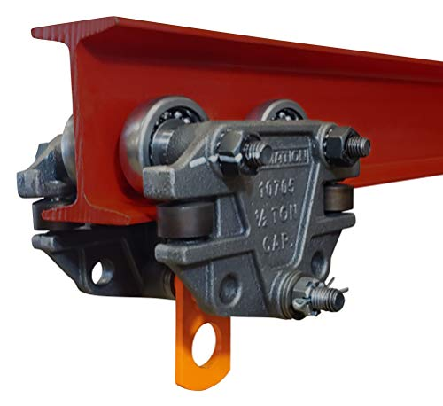 Ultimation 1/2 Ton 1,000 Pounds Capacity Beam Trolley with Side Guide Rollers. Suits 3 inch, 4 inch, and 6 inch Tall I-Beams.