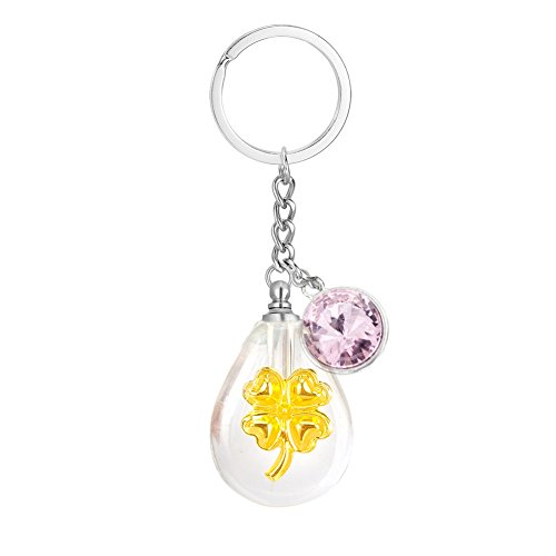 Cremation Jewelry Teardrop Clover Crystal Vial Ash Keychain Birthstone Urn Necklace Baby Lanugo Holder Memorial Pendant