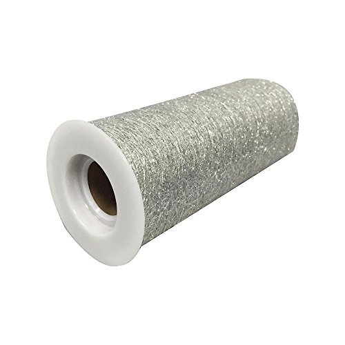 IETONE 15cm10Yards Gold Wire Tissue Sparkling Tulle Roll Spool Organza Sheer Gauze Party Decor Nice-Silver