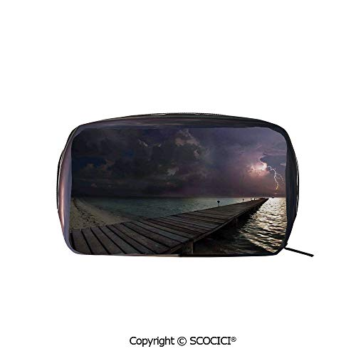 Rectangle Printed Beauty Cosmetic Bag Pouch Horizon with Electrical Storm in the Sky View from A Wooden Deck on the Exotic Beach Women fashion Toiletry Travel Bag