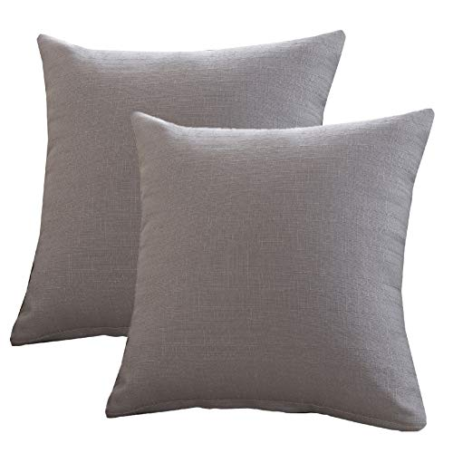 Loveliome Pack of 2 Decorative Throw Pillow Covers,Solid Color Home Office Breathable Cushion Case for Sofa Bedroom Car 18 x 18 Inch(Grey) ()