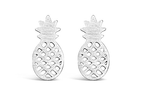 Each Tropical Fruit - Rosa Vila Dainty Pineapple Earrings, Tropical Fruit Jewelry, Symbolizes Friendship and Generosity, Hawaii Jewelry, Wearable Tropical Vacation Gifts for Women (Silver Tone)