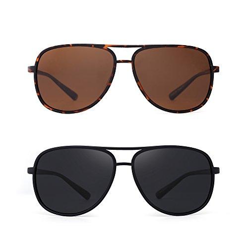 Retro Polarized Aviator Sunglasses Mirror Lightweight Eyeglasses for Men Women 2 Pack (Brown & Grey)