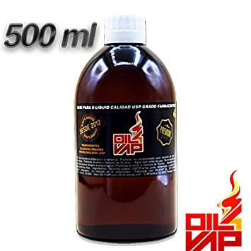 Base liquido de cigarrillo electronico OIL4VAP 500ml SIN NICOTINA 60% propilenglicol 40% glicerina