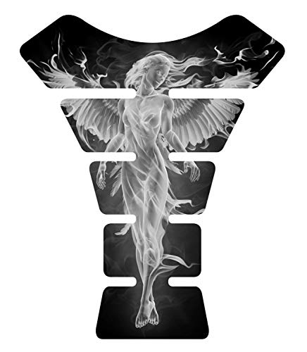 Angel Fire White 3d Gel Motorcycle Gas Tankpad Motorcycle TanK pad Decal Sticker ()