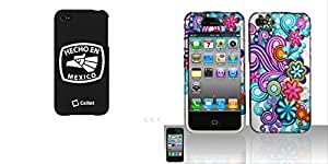 "Combo pack Cellet Black ""HECHO EN MEXICO"" Proguard For Apple iPhone 4 & 4S And Rubberized Purple/Blue Flowers Design for APPLE iPhone 4"