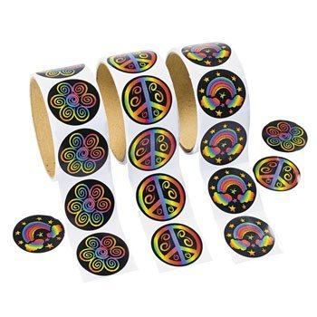 300 Cool RAINBOW PEACE Flower Stickers - 3 ROLLS 100 per Roll/60'S PARTY/Hippie/RETRO/TEACHER Classroom Rewards -