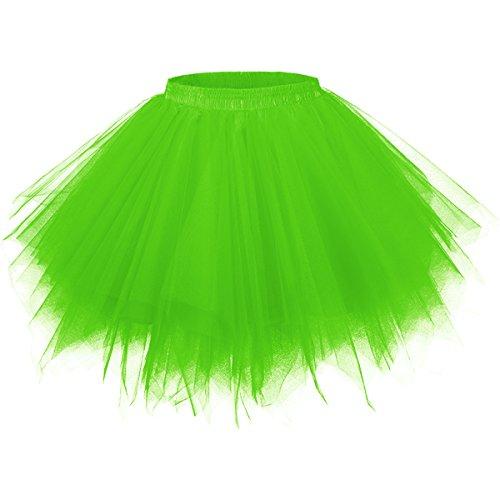 Girstunm Women's 1950s Vintage Petticoats Bubble Tutu Dance Half Slip Skirt Light Green XXL/XXXL]()