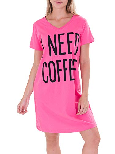Caramel Cantina 'I Need Coffee' Long Length Nightshirt (2XL/3XL, Pink)