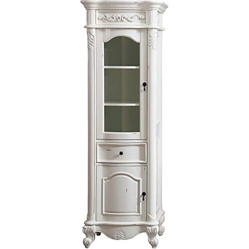 Linen Tower in Antique White Finish ()
