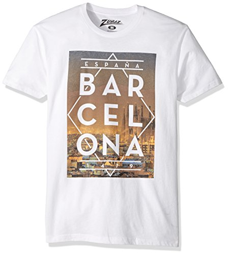Zubaz Men's Global Cities Graphic T-Shirt, White Barcelona, L - Barcelona Tower