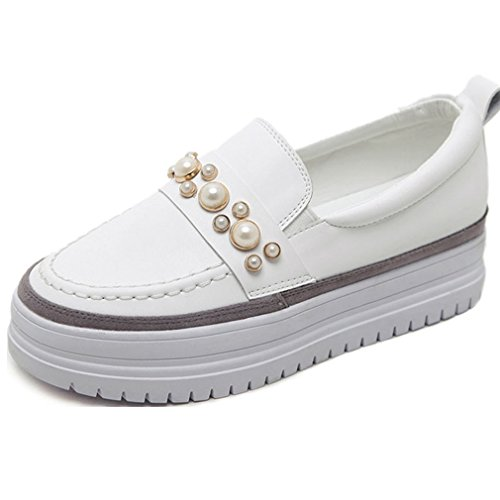 Hoxekle Womens Beaded Low Top Mid Heels Round Toe Platform Rubber Sole Slip On Loafer Shoes White OC1sz