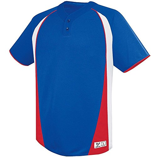- High Five Ace Two Button Jersey - Youth,Royal/White/Scarlet,Small