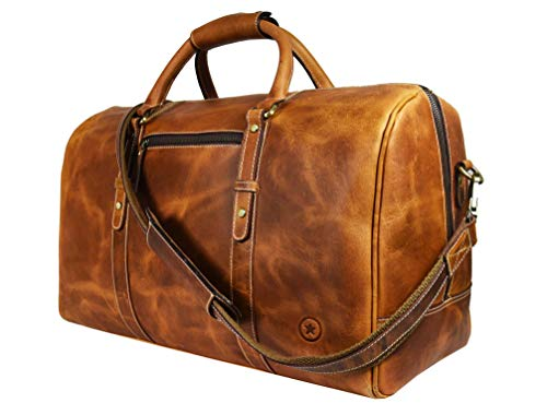 Leather Travel Duffle Bag   Gym Sports Bag Airplane Luggage Carry-On Bag By Aaron Leather (Caramel)