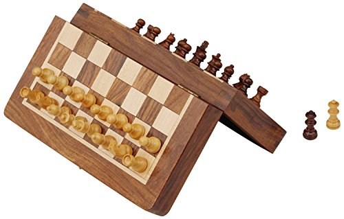 """SouvNear 7"""" Magnetic Chess Set with Folding Board - Portable Chess Game Handmade in Fine Wood with Storage for Chessmen"""