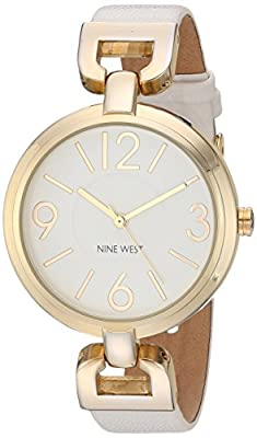 Nine West Women's Quartz Metal and Polyurethane Dress Watch, Color:White (Model: NW/1778WTWT)