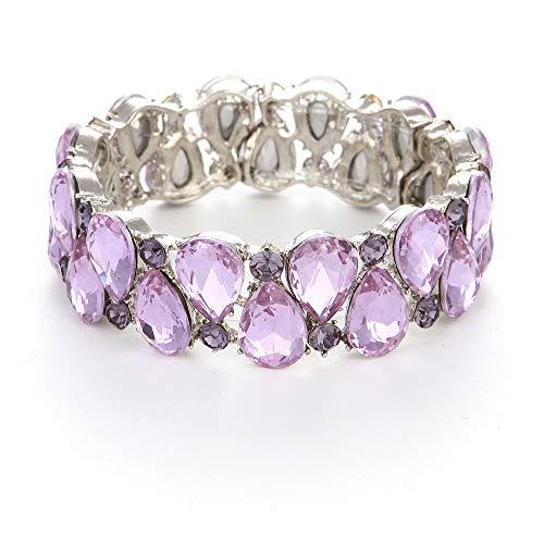 (Youfir Bridal Austrian Crystal Teardrop Knot Elastic Stretch Bracelet for Brides Wedding Party (Amethyst) )
