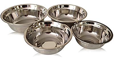 Checkered Chef Stainless Steel Mixing Bowl Set, 4 Metal Prep Bowls. Dishwasher Safe.