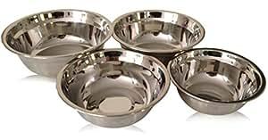 Checkered Chef Stainless Steel Metal Mixing Bowl Set, 4 Metal Prep Bowls. Dishwasher Safe.