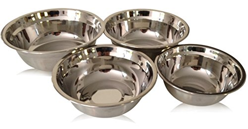 Checkered Chef Stainless Steel Mixing Bowl Set, 4 Metal Prep Bowls. Dishwasher (4 Stacking Bowls)