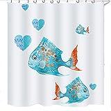 Cartoon Fish Shower Curtain Jcoze Bathroom Curtains, Funny Animals Cartoon Pattern Polyester Shower Curtain Waterpoof Mildew 12 Hook Bath Curtain Print Fish