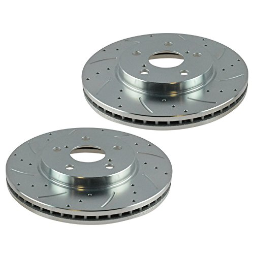 Performance Brake Rotor Drilled & Slotted Front Coated Pair for Toyota ()
