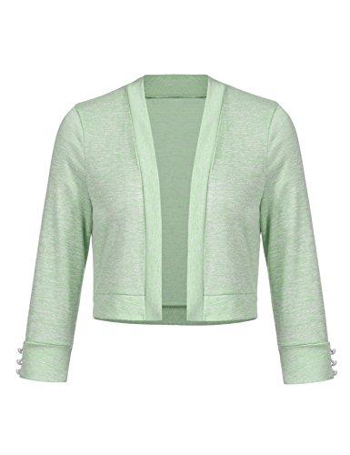 Grabsa Women's 3/4 Sleeve Shrug Open Front Soft Knit Cotton Cropped Cardigan - Cotton Shrug