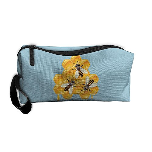 Honey Bees Cosmetic Bags Brush Pouch Makeup Bag Zipper Wallet Hangbag Pen Organizer Carry Case Wristlet Holder -